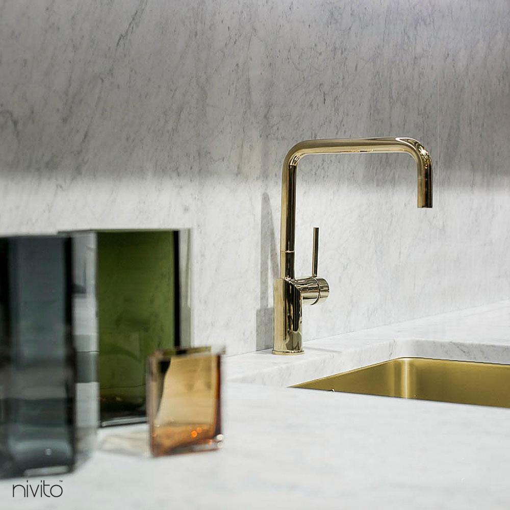 Gold brass faucet single handle