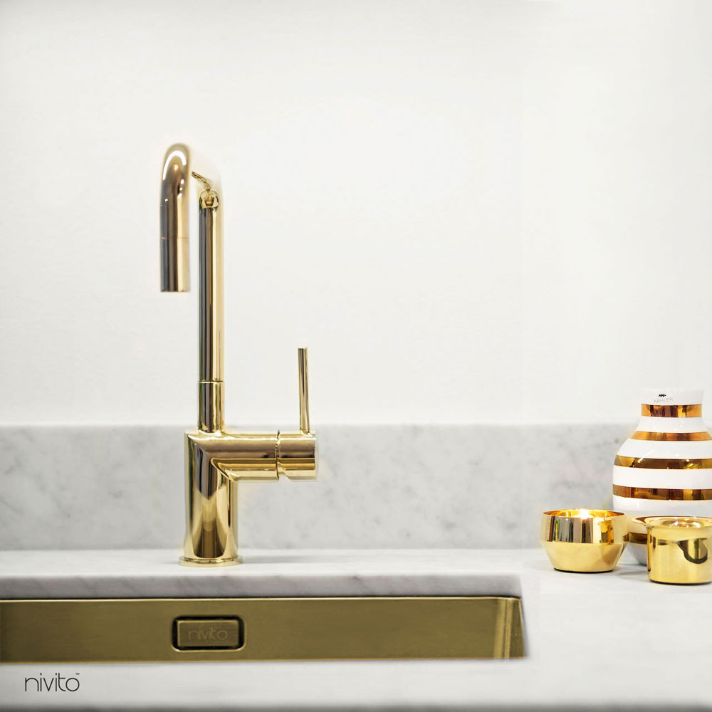 Gold brass single hole faucet