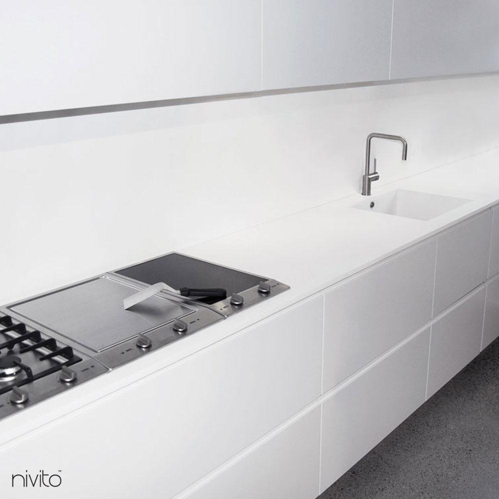 Brushed steel water single handle faucet