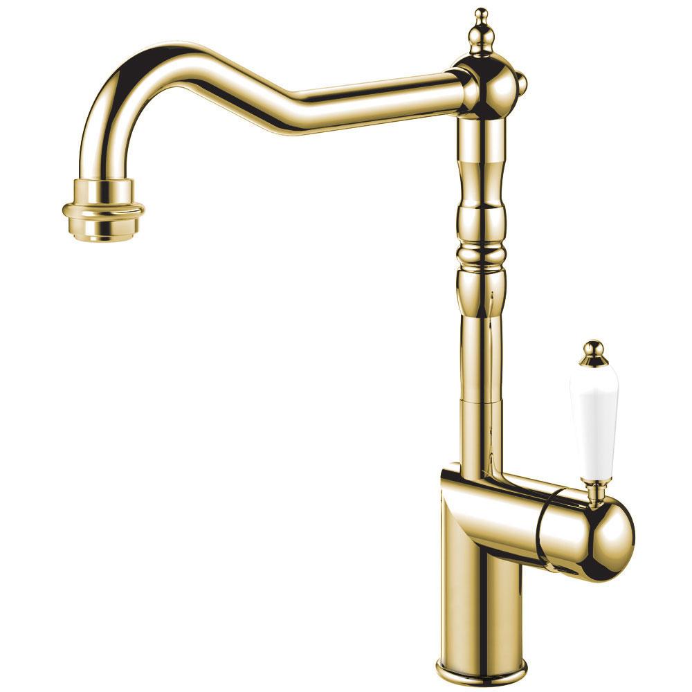 Brass/Gold Single Hole Kitchen Faucet - Nivito CL-160 White Porcelain Handle Color