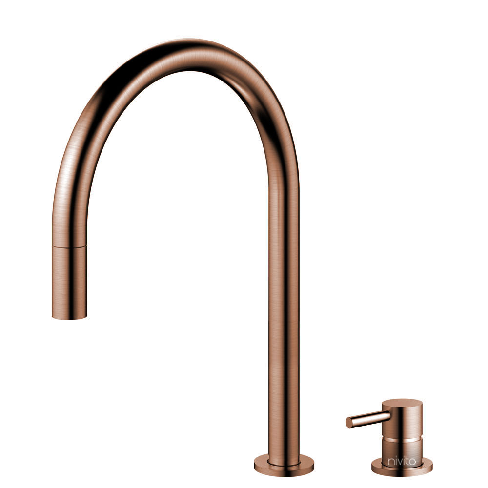 Copper Single Hole Kitchen Faucet Pullout hose / Seperated Body/Pipe - Nivito RH-150-VI