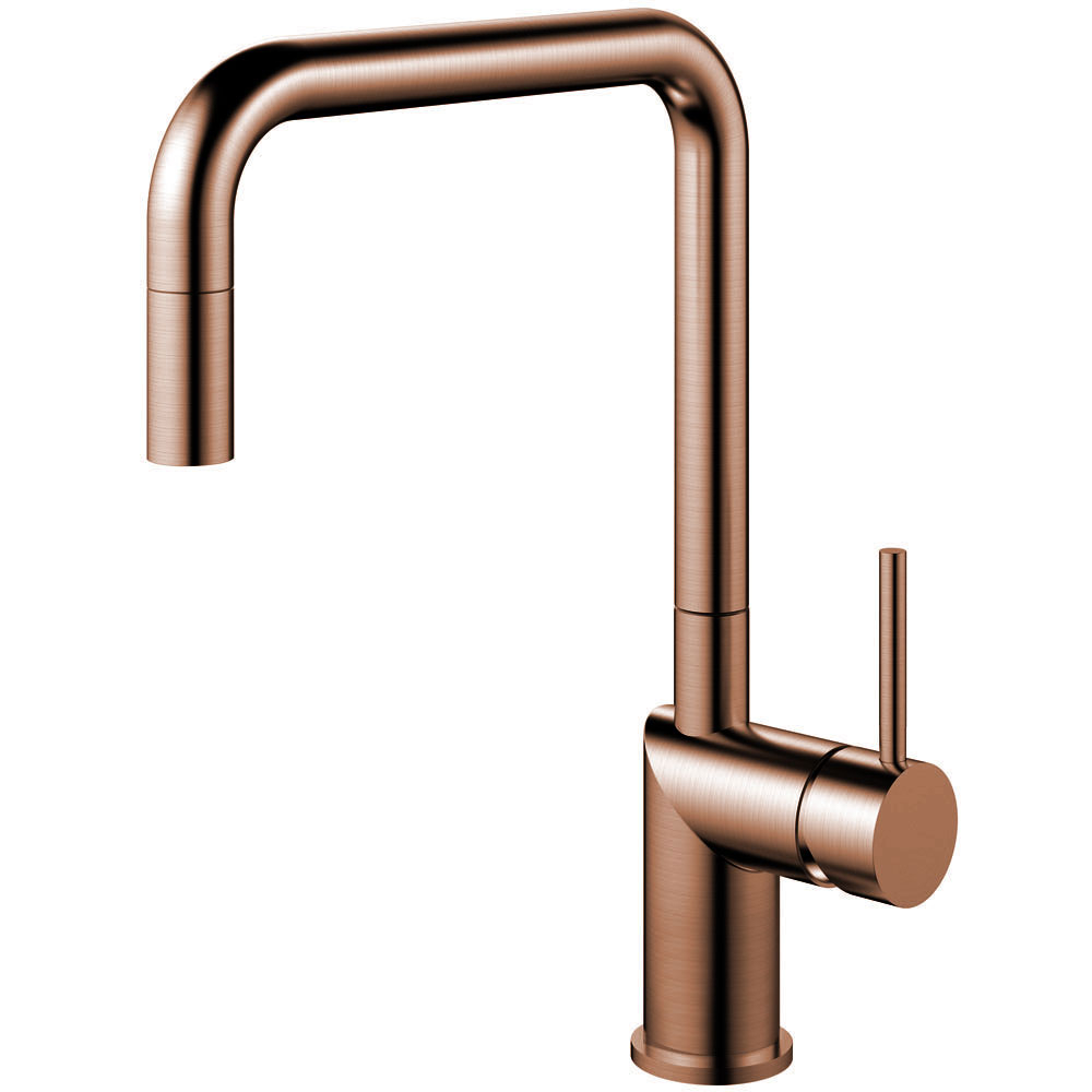 Copper Single Hole Kitchen Faucet Pullout hose - Nivito RH-350-EX