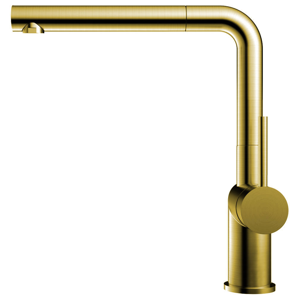 Brass/Gold Single Hole Kitchen Faucet Pullout hose - Nivito RH-640-EX