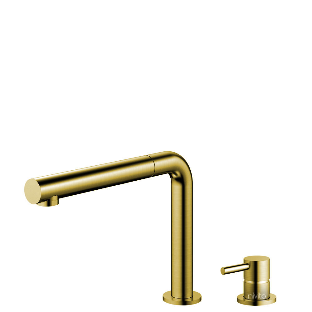 Brass/Gold Single Hole Kitchen Faucet Pullout hose / Seperated Body/Pipe - Nivito RH-640-VI