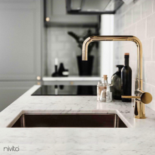 Gold brass faucet single hole