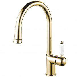 Brass/Gold Single Hole Kitchen Faucet Pullout hose - Nivito CL-260