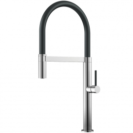 Stainless Steel Single Hole Kitchen Faucet Pullout hose / Brushed/Black - Nivito SH-200