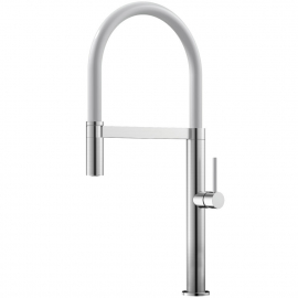 Stainless Steel Single Hole Kitchen Faucet Pullout hose / Brushed/White - Nivito SH-300